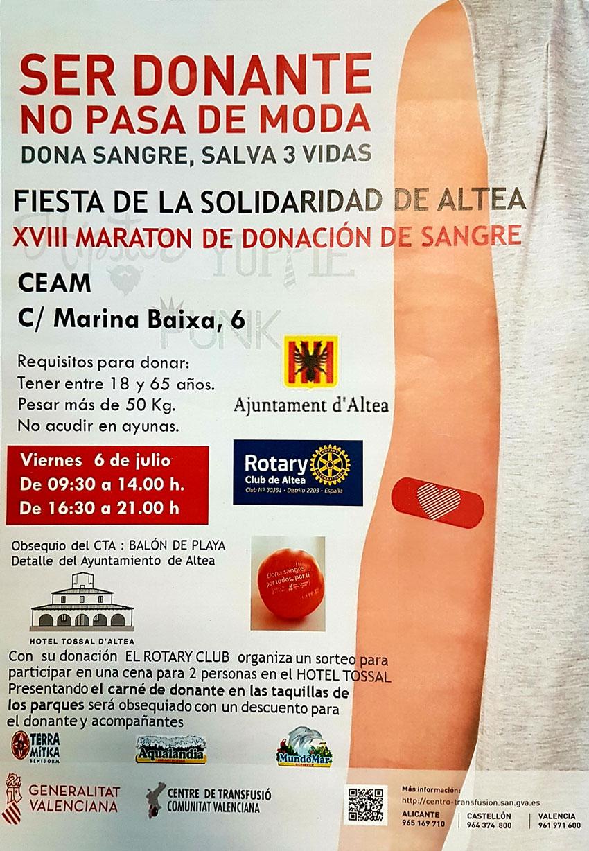 El próximo viernes 6 de julio, Altea albergará un nuevo Maratón de Donación de Sangre. Y ya van 18 en el municipio, con lo que ésta  Fiesta de la Solidaridad alteana cumple la mayoría de edad. La cita es el próximo 6 de julio en el CEAM en horario de 9:30 a 14:00h y de 16:30 a 21:00h.