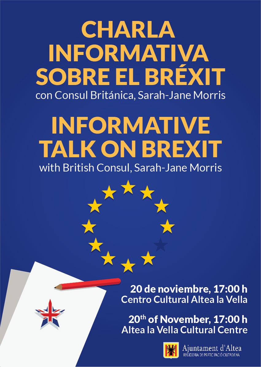 Xarrada informativa sobre el Brexit a càrrec dela cònsol britànica Sarah-Jane Morris, dimarts 20 de novembre, a les 17:00 hores en el Centre Cultural d'Altea la Vella