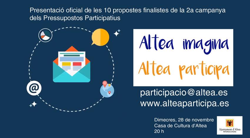 Altea presentarà este dimecres els projectes finalistes de la campanya dels pressupostos participatius