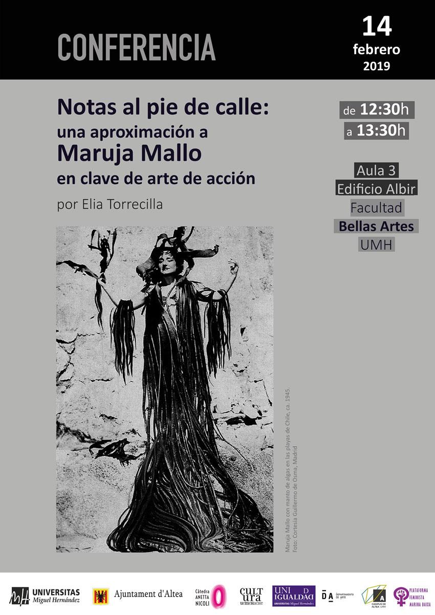 La Càtedra Anetta Nicoli de la UMH arranca la seua programació de 2019 amb una conferència sobre Maruja Mallo en clau d'acció