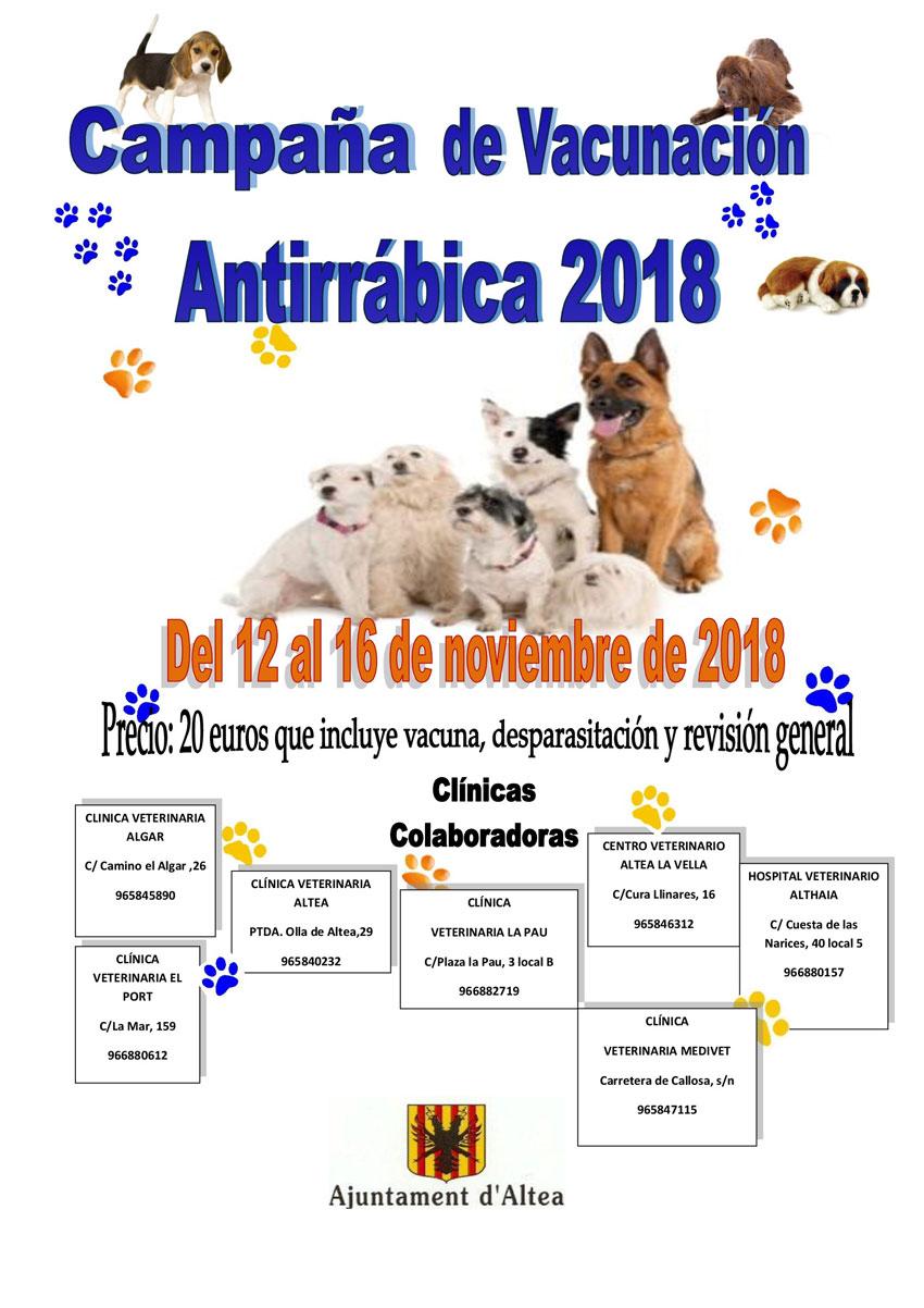 Hoy comienza la Campaña de Vacunación Antirrábica y se prolongará hasta el 16 de noviembre, el precio es de 20 euros e incluye la vacuna, desparasitación y una revisión general del perro