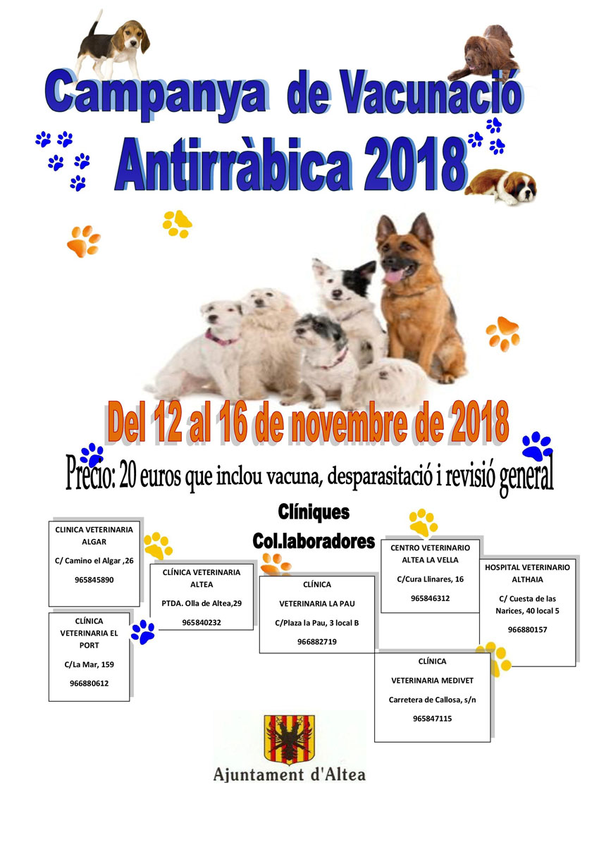 Hui comença la Campanya de Vacunació Antirràbicai es prolongarà fins al 16 de novembre, elpreu és de 20 euros i inclou la vacuna, desparasitació i una revisió general del gos