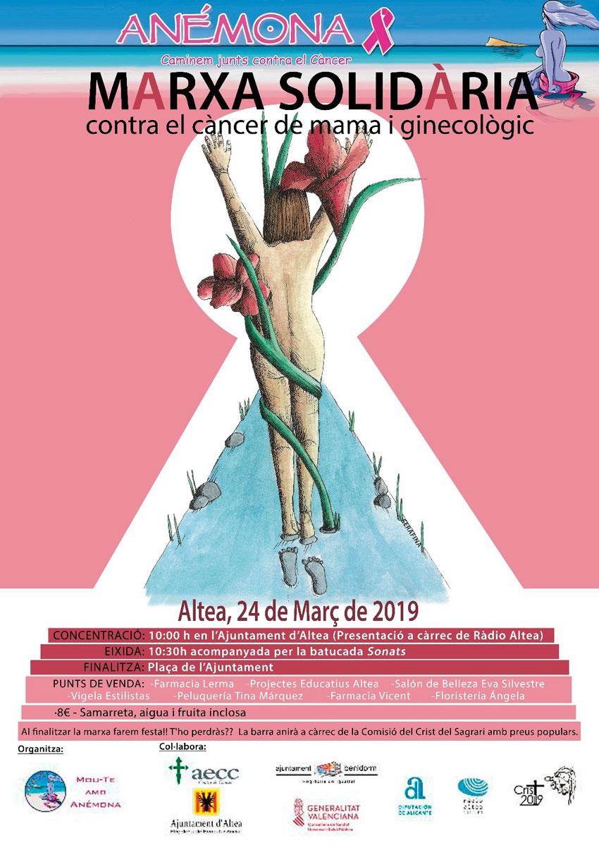 Aquest diumenge 24 de març, marxa solidària contra el càncer a Altea. Eixida a les 10:30 hores des de la Plaça de l'Ajuntament.