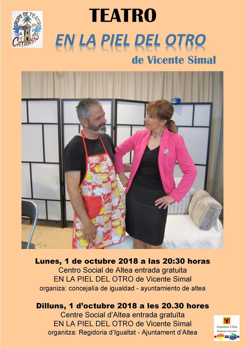 """""""En la piel del otro"""" de Vicente Simal, lunes 1 de octubre a las 20:30 horas en el Centro Social de Altea"""