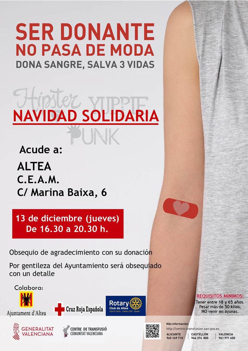 Dijous 13 de desembre, de 16:30 a 20:30h en el CEAM, dóna sang i salva tres vides