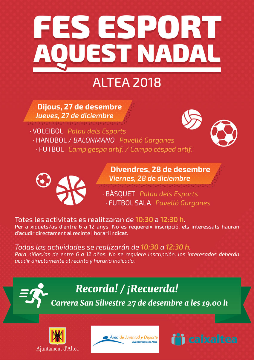 """Joventut i Esports organitza diverses activitats baix el lema """"Fes esport aquest nadal"""""""