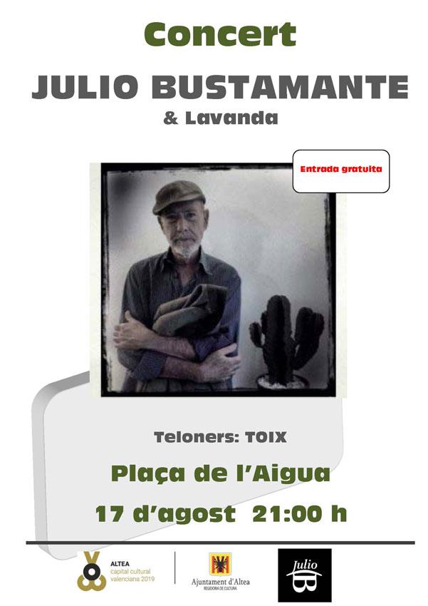 No te pierdas la oportunidad de disfrutar este sábado 17 de agosto a las 21.00 h del concierto de Julio Bustamante a la plaça de l'Aigua. La entrada es gratuita.