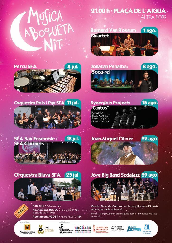 ¡No te pierdas este jueves el último concierto del ciclo «Música a Boqueta Nit» con una actuación de la Joven Big Band de Sedajazz a las 21:00h en la plaça de l'Aigua!