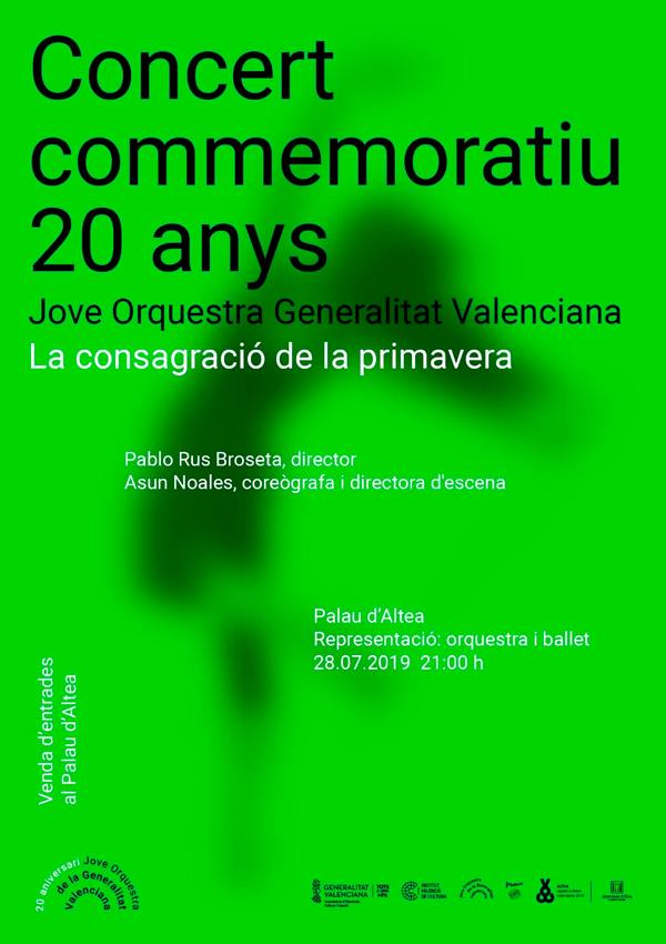 """No perdes l'oportunitat de gaudir aquest diumenge 28 de juliol el concert """"La consagració de la primavera"""" d'Ígor Stravinsky, a càrrec de la Jove Orquestra de la Generalitat Valenciana."""