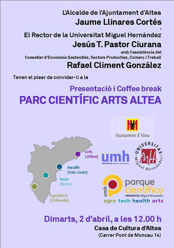 Ajuntament i UMH presenten la pròxima setmana el 'Parc Científic Arts Altea'