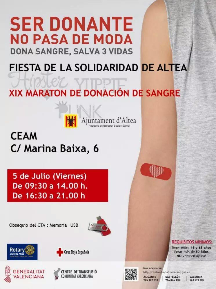 Dóna sang en la XIX marató de donació de sang, el divendres 5 de juliol, de 09:30 a 14:00 i de 16:30 a 21:00 hores en el CEAM d'Altea.