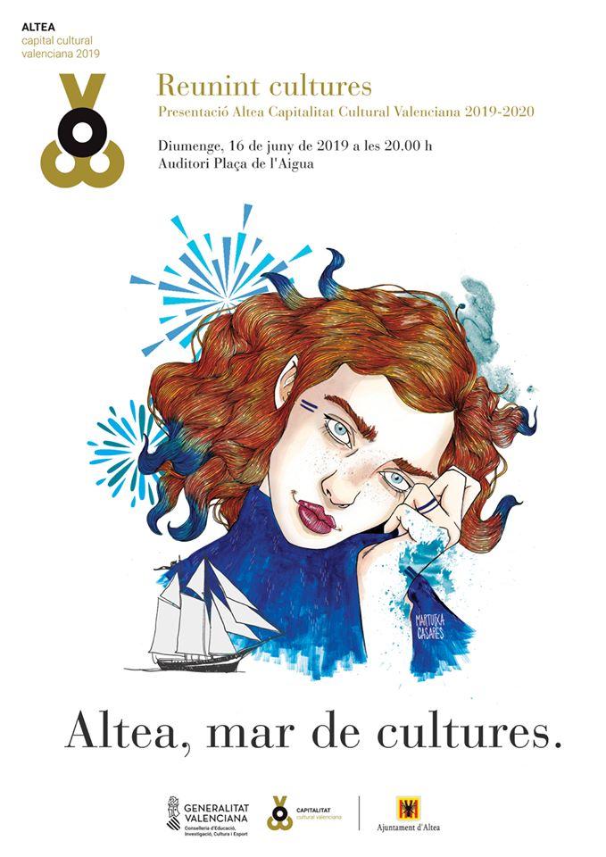 Diumenge 16 de juny, acte de presentació oficial d'Altea com a Capital Cultural Valenciana 2019-2020, a les 20:00 hores a la Plaça de l'Aigua. Esteu tots i totes convidats!
