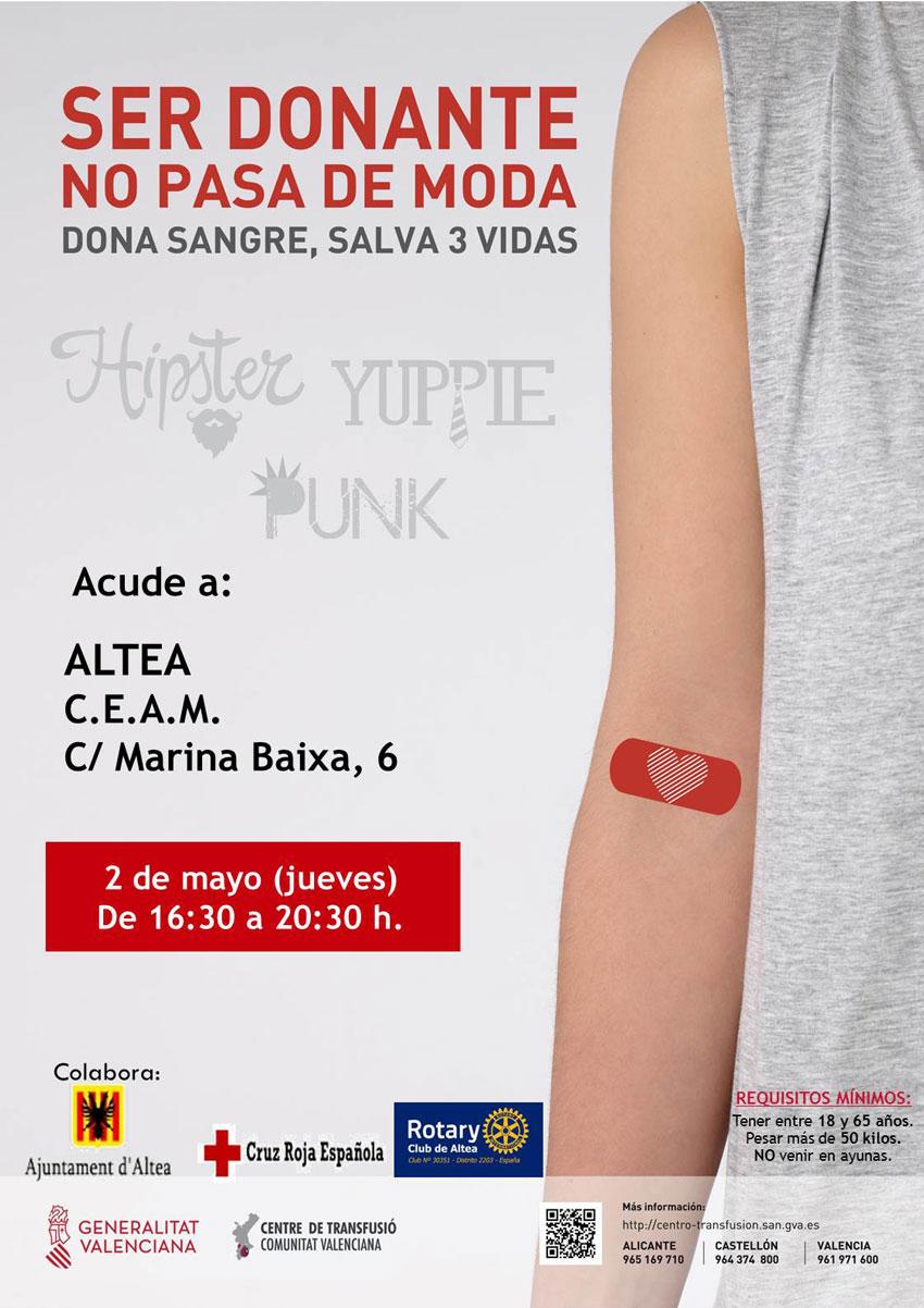 Ser donant no passa de moda. Dóna sang, salva tres vides. Dijous2de maig, de 16:30 a 20:30 hores al CEAM d'Altea.