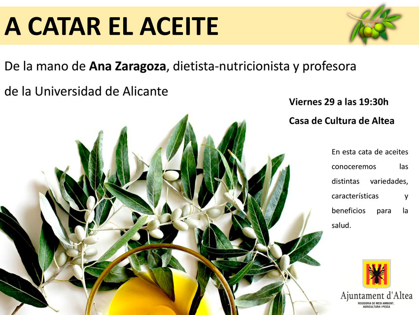 Xarrada i tast d'oli a càrrec d'Ana Zaragoza. Hui a la Casa de Cultura a les 19:30 hores.
