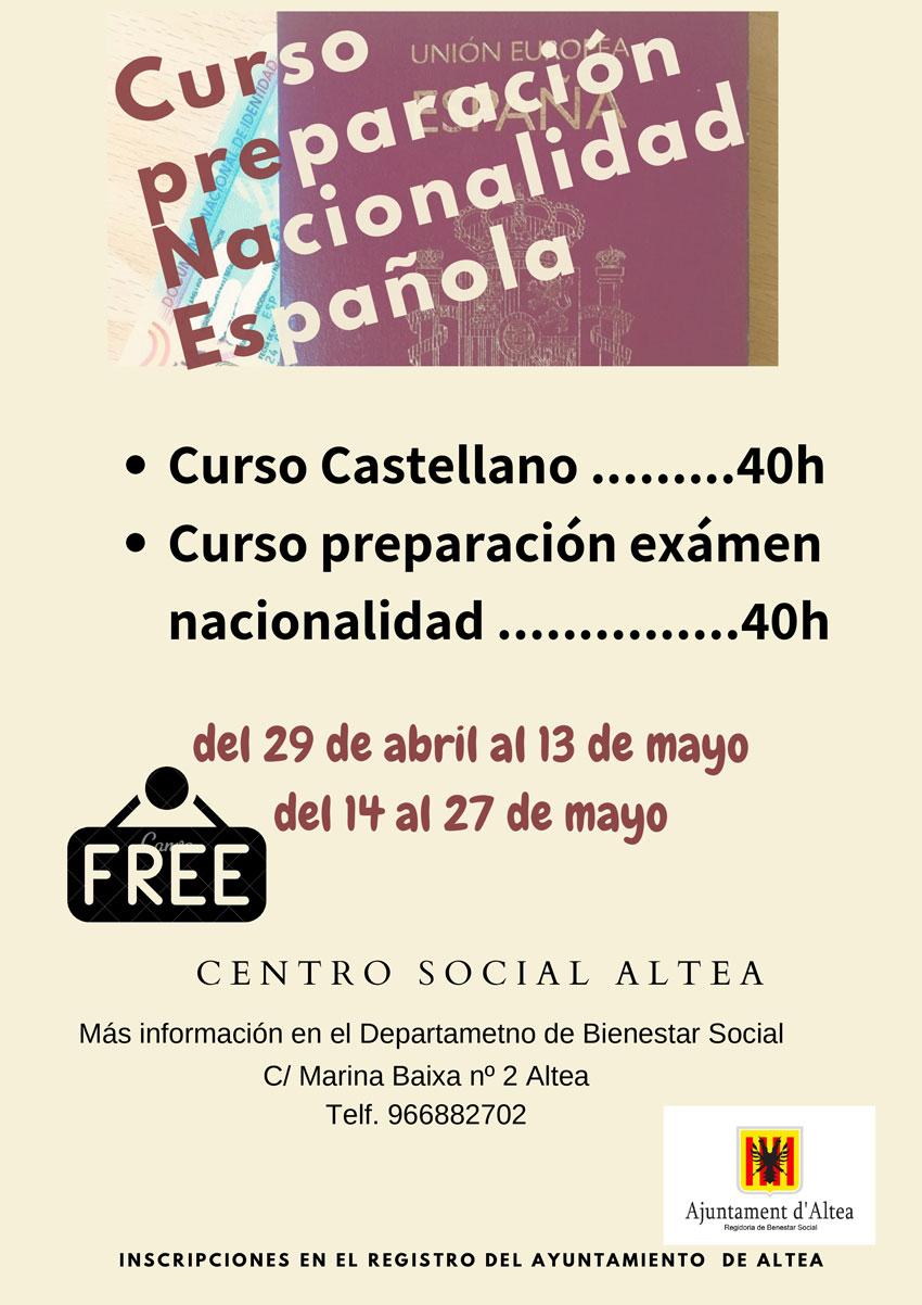 Obertes les inscripcions al curs de preparació per a obtindre la nacionalitat espanyola