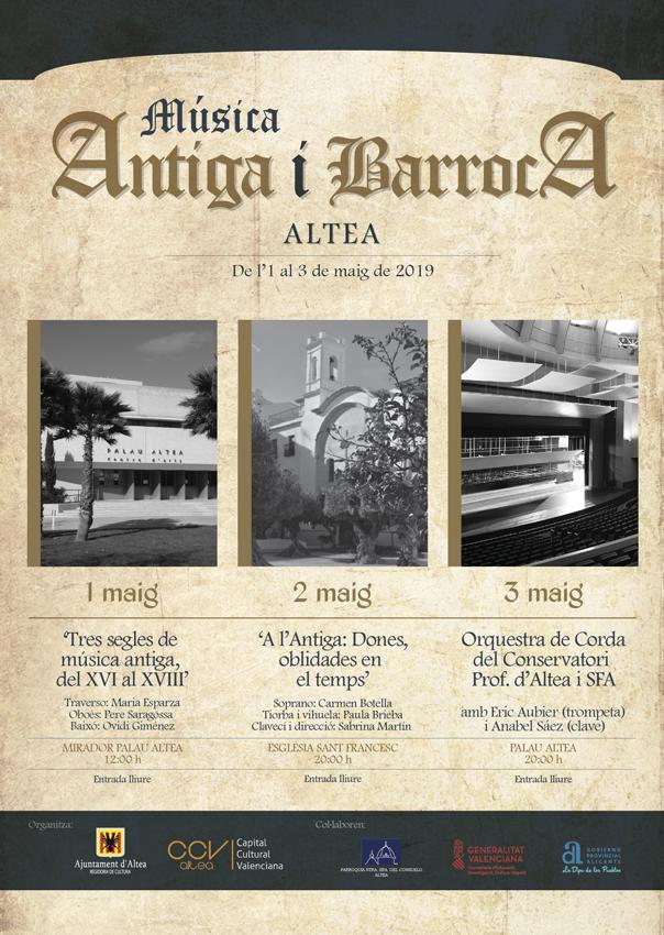 Altea celebra el cicle 'Música Antiga i Barroca' de l'1 al 3 de maig