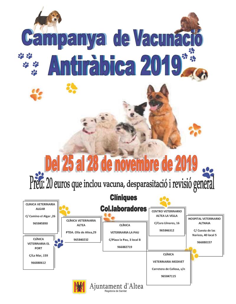 Sanitat anuncia la Campanya de Vacunació Antiràbica 2019