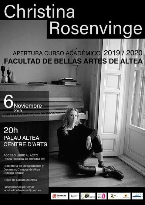 Christina Rosenvinge inaugurará el curso académico de la Facultad de Bellas Artes de Altea