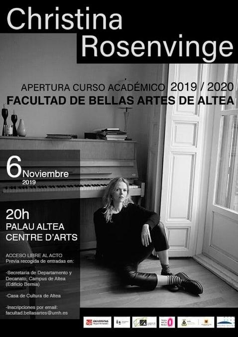 Christina Rosenvinge inaugurarà el curs acadèmic de la Facultat de Belles Arts d'Altea