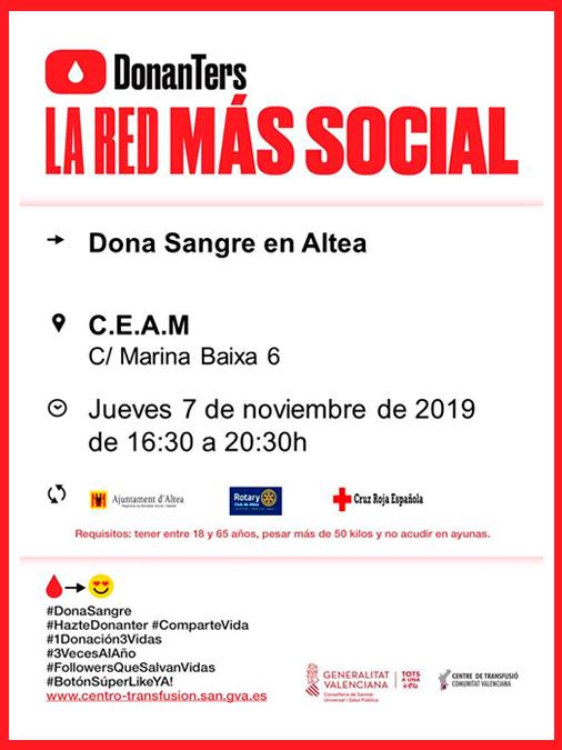 Hoy jueves, 7 de noviembre, dona sangre en Altea. La donación se llevará a cabo en el CEAM (C/ Marina Baixa, 6) de 16:30 a 20:30 horas. Has de tener entre 18 y 65 años y pesar más de 50 kilos.