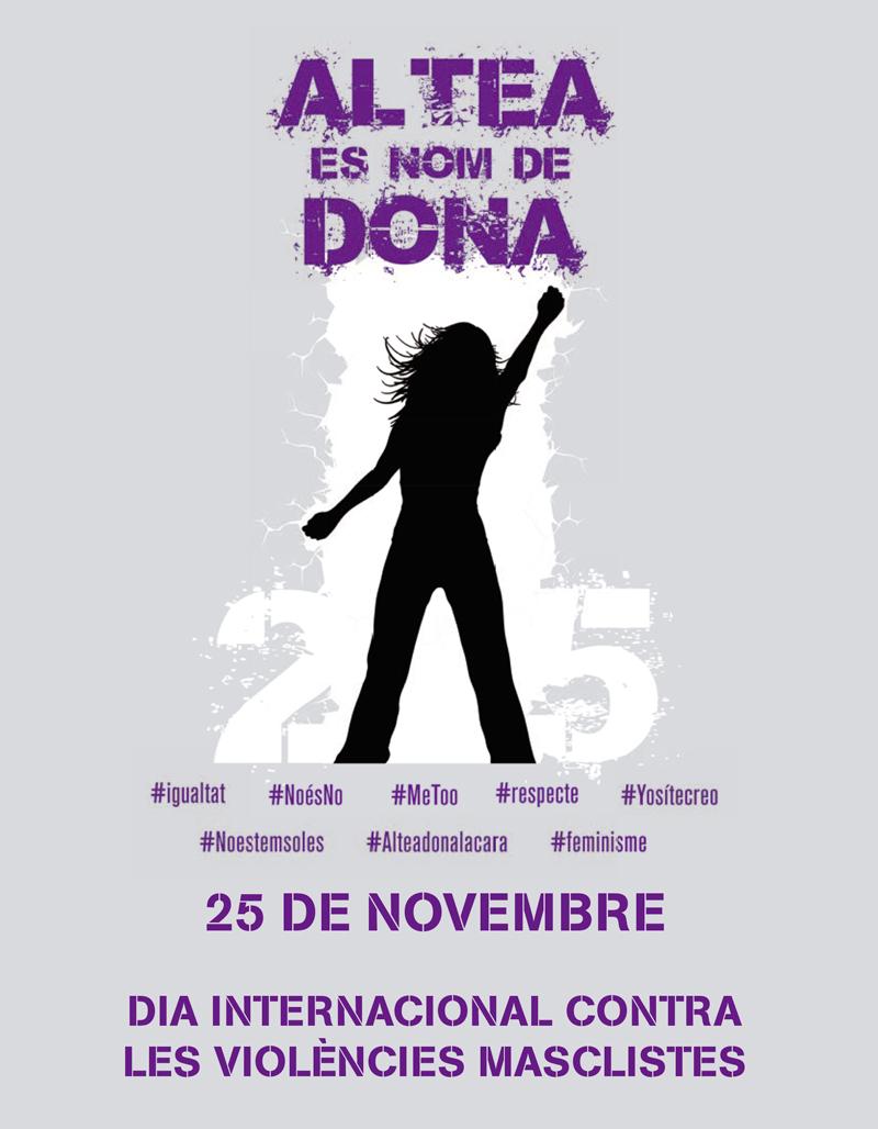 """""""Altea dona la cara"""" per visibilitzar la repulsa contra la violència de gènere. Consulta les activitats organitzades des de la regidoria d'Igualtat  amb motiu del 25 de novembre, """"Dia Internacional contra les Violències Masclistes"""". T'esperem!"""