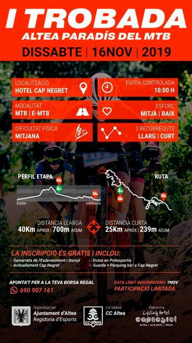 Ayuntamiento, Club Ciclista y Hotel Cap Negret ponen en marcha el I Encuentro Altea paraíso de la MTB
