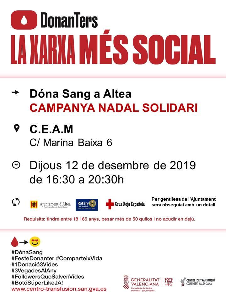 Dóna sang a Altea. Campanya de Nadal Solidari. Dijous 12 de desembre de 2019 de 16.30 a 20.30 h enCEAM(c/ Marina Baixa, Altea)