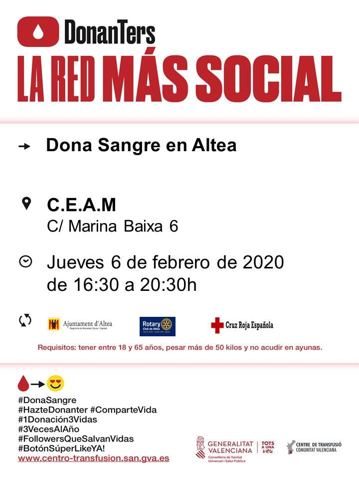 El pròxim 6 de febrer tindrà lloc, de 16:30 a 20:30 hores, una nova jornada de donació de sang al CEAM d'Altea (c / Marina baixa, 6). Anima't i salva 3 vides!