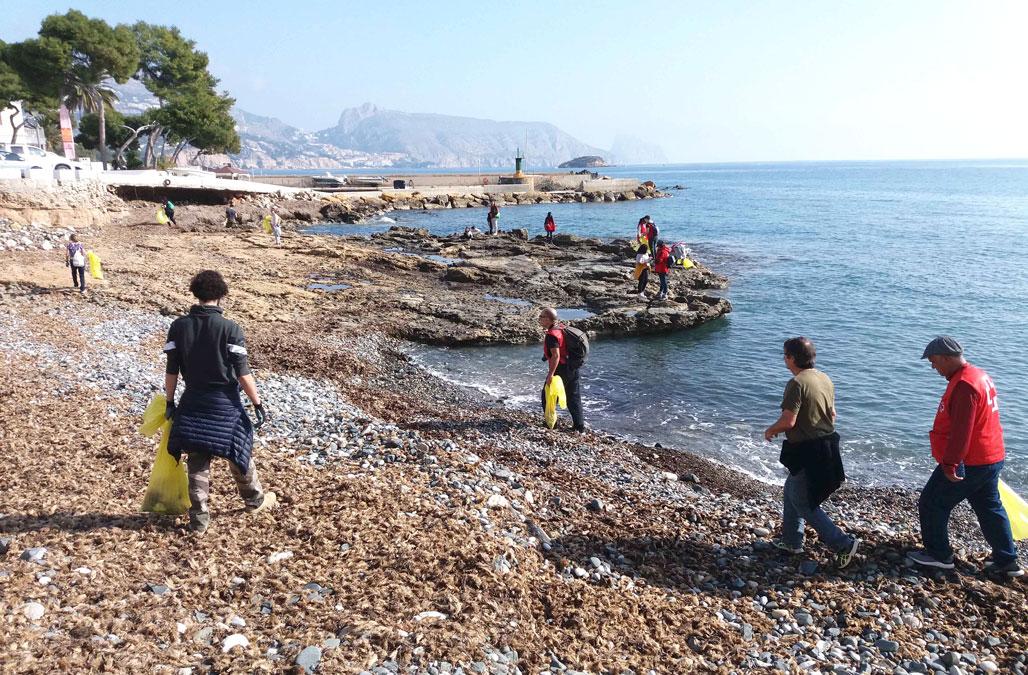 Voluntarios recogen 600 kilos de residuos en el litoral de Altea