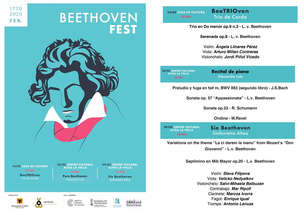 Altea se impregna de música el mes de febrero. El Beethoven Fest empieza el viernes 14 a las 20:00 horas, en la Casa de Cultura de Altea, con el trío de cuerda BeeTRIOven. El festival continuará los días 22 y 29 en el Centro Cultural de Altea la Vella