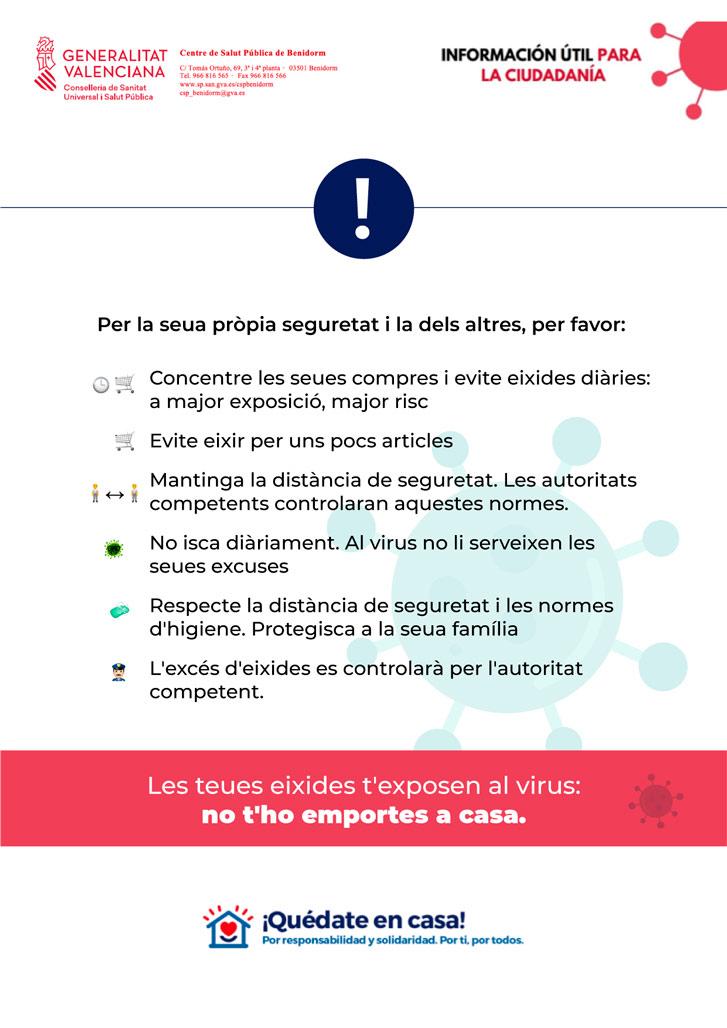 L'Ajuntament d'Altea trasllada a la ciutadania informació útil emesa per Salut Pública contra el COVID-19