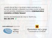 El alcalde responderá en directo, en Ràdio Altea, a las preguntas sobre la crisis del coronavirus
