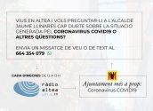 L'alcalde respondrà en directe, a Ràdio Altea, a les preguntes sobre la crisi del coronavirus