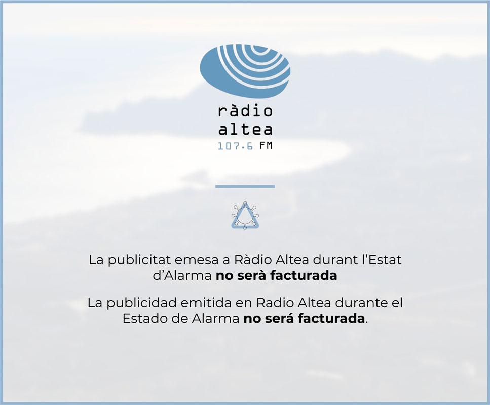 La publicitat que emeta Ràdio Altea durant l'Estat d'Alarma no serà facturada