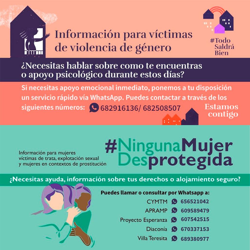 La regidoria d'Igualtat, encapçalada per Vicenta Pérez, s'adhereix a la campanya 'Ninguna mujer desprotegida' en la qual es reforça el Pla de Contingència contra la Violència de Gènere davant el COVID-19 i s'amplia la protecció de les víctimes de tracta, explotació sexual i dones en context de prostitució
