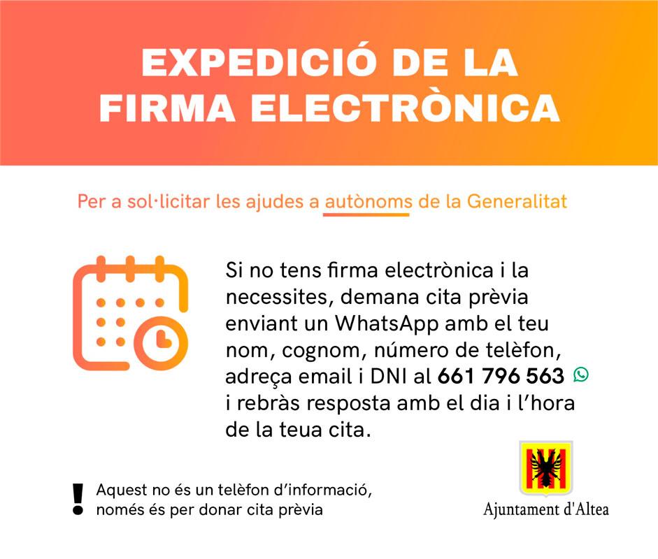 L'Oficina d'Atenció al Ciutadà facilitarà l'expedició de la firma electrònica per sol·licitar les ajudes a autònoms