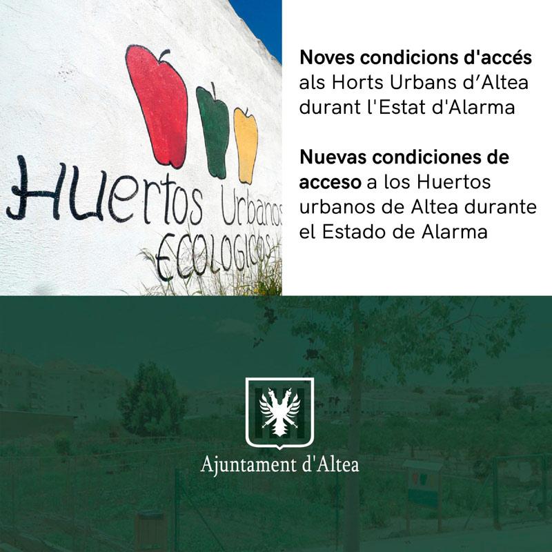 El Ayuntamiento de Altea podrá autorizar, de forma excepcional, el acceso a los huertos urbanos en el estado de alarma