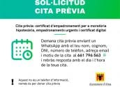 Foment de l'Ocupació anuncia que s'expediran, amb cita prèvia, els certificats d'empadronament per a moratòria hipotecaria, empadronaments urgents i el certificat digital