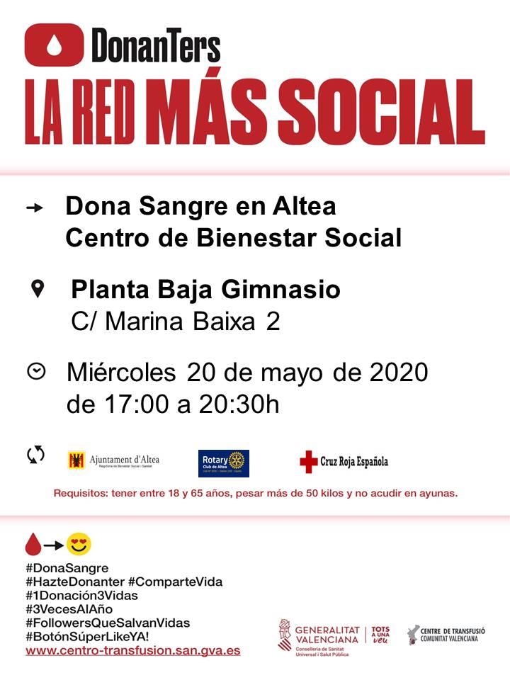 Demà, 20 de maig, anima't a donar sang. De 17:00 a 20:30 hores t'esperen, com l'última vegada, al gimnàs de la planta baixa del Centre de Benestar Social (C/ Marina Baixa, 2). Cada vegada és més necessària la col·laboració ciutadana. Fes-te donant i salva vides!