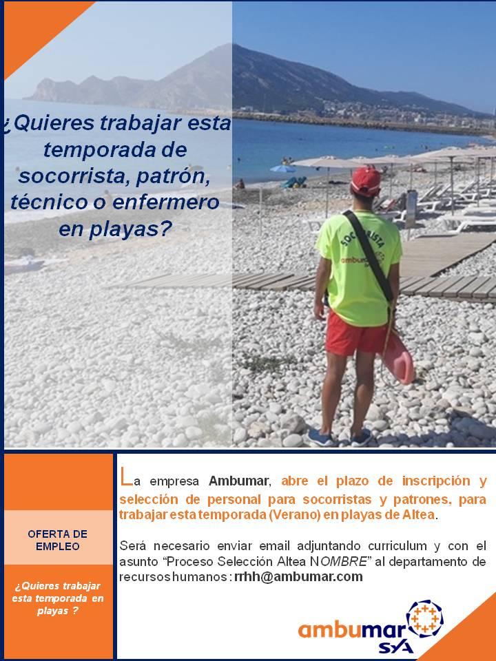 L'Ajuntament d'Altea anuncia una oferta de treball de socorrista per a la temporada estival