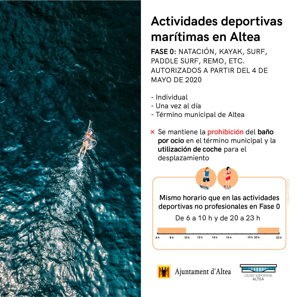 El Ayuntamiento abre las playas del municipio a la práctica deportiva individual