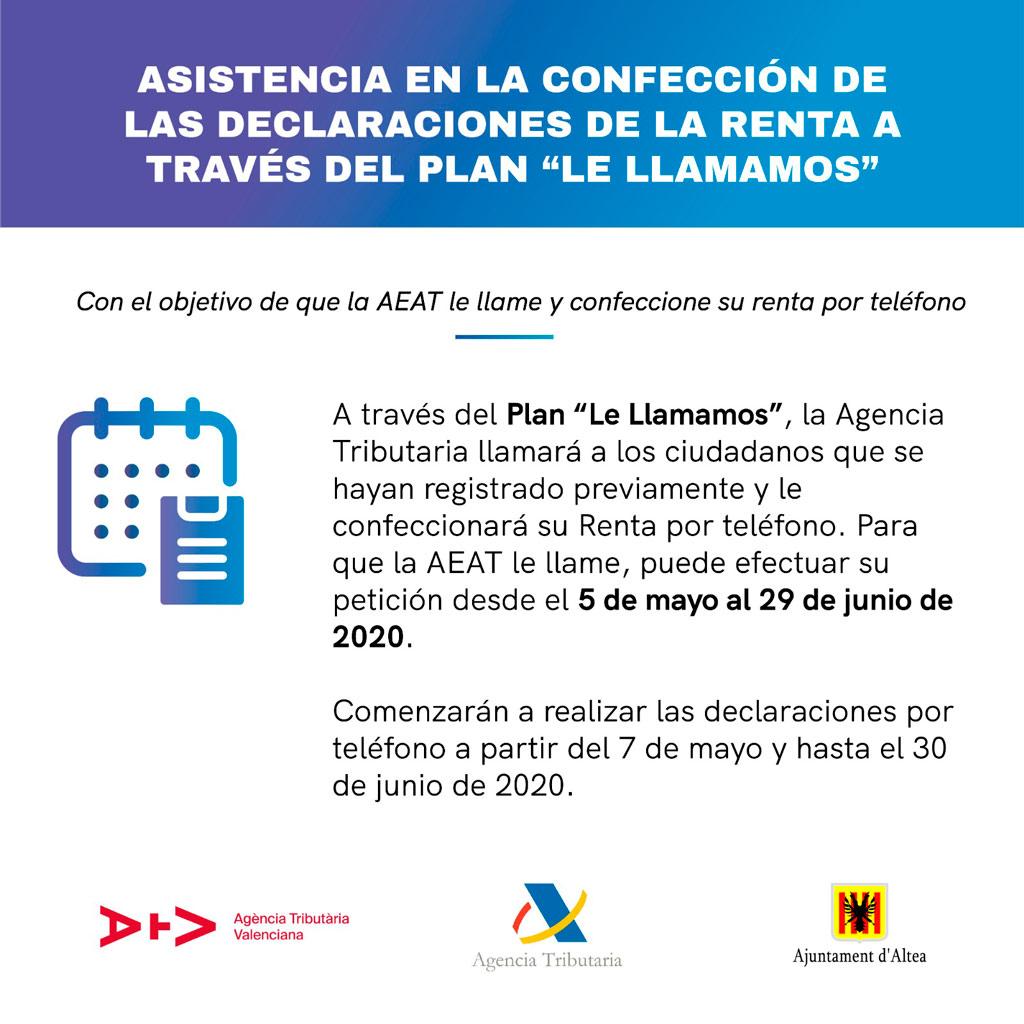"""La AEAT sustituye la campaña presencial de la Renta por el Plan """"Le Llamamos"""""""