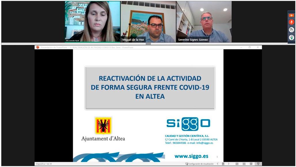 Gran éxito de participación en el webinar sobre cómo reactivar la actividad de forma segura frente al COVID-19 en Altea