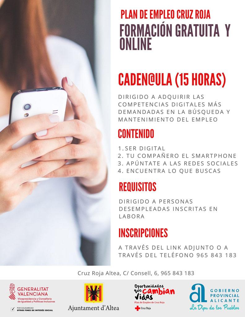Pla d'Ocupació de Creu Roja Altea segueix atenent les persones que ho necessiten i a les empreses col·laboradores oferint cursos i tallers 'online'