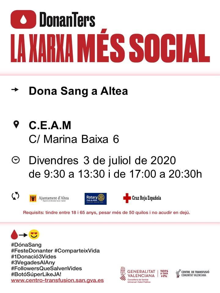 El pròxim divendres, 3 de juliol, tindrà lloc una nova jornada de donació de sang a Altea. Podràs col·laborar en horari de matí de 9:30 a 13:30 hores o en horari de vesprada de 17:00 a 20:30 hores al CEAM (c/ Marina Baixa, 6). Anima't i salva vides!