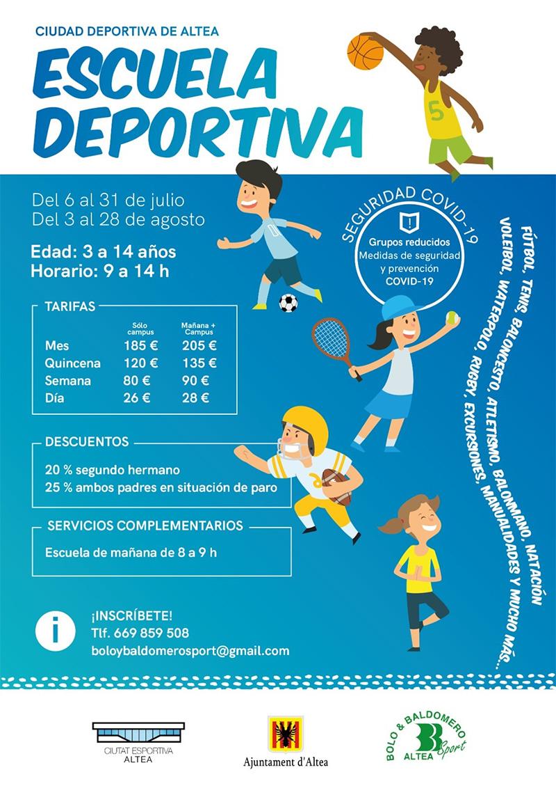 La Escuela Deportiva de este verano cumplirá con un protocolo de seguridad COVID-19