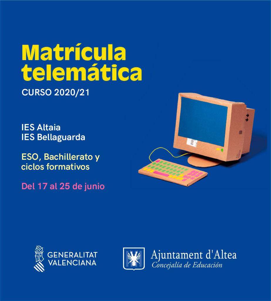 El proceso de admisión para los alumnos de educación secundaria, Bachillerato y ciclos formativos para el curso 2020-2021 se tramitará telemáticamente del 17 al 25 de junio
