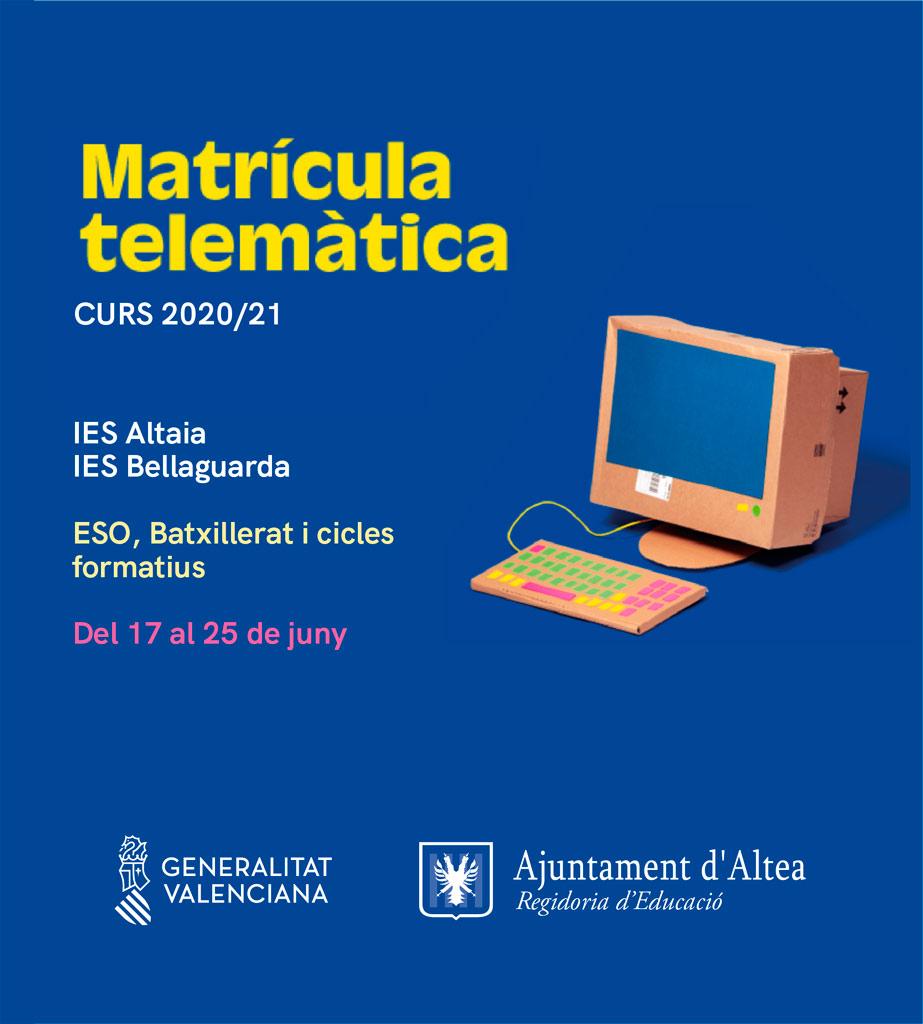 El procediment d'admissió per als alumnes d'educació secundària, Batxillerat i cicles formatius per al curs 2020-2021 es tramitarà telemàticament del 17 al 25 de juny