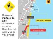 Infraestructuras lleva a cabo una última fase de asfaltado en la carretera que une el Puerto de Altea con el Albir