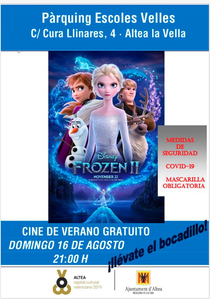 Este diumenge, 16 d'agost, gaudeix d'una nit en família amb la pel•lícula 'Frozen II' al cinema d'estiu d'Altea la Vella. La projecció començarà a les 21:00 hores en el Pàrquing Escoles Velles. No oblides portar el teu entrepà i la teua mascareta!